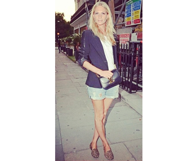 Poppy Delevingne favours the signature animal print slipper flats