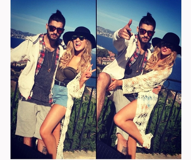 zayn malik and Perrie Edwards looking cosy on holiday