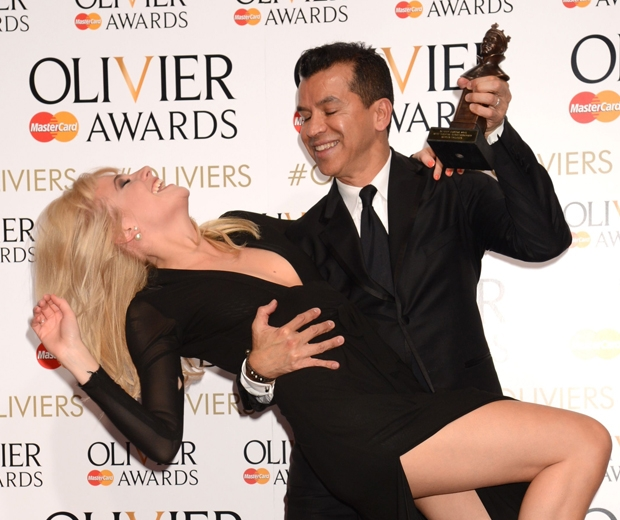 Pixie Lott joked with Sergio Trujillo at olivier awards