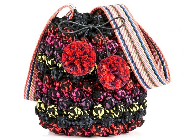 M Missoni Speckled Raffia Bucket Bag