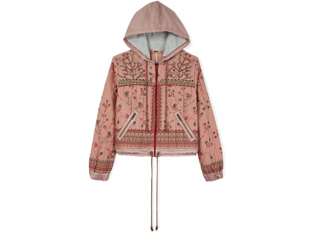 Free People Patterned Hooded Jacket