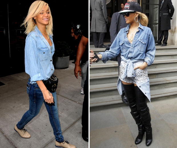 rihanna in denim jeans and denim shirt