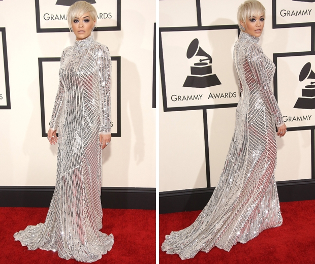 Rita Ora working her shimmering Prada dress on the Grammys 2015 red carpet