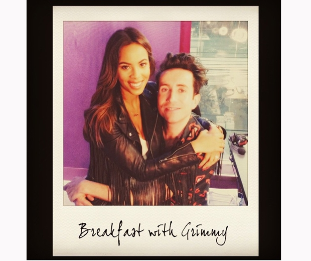 Rochelle Humes and Grimmy on his BBC Radio 1 Breakfast Show