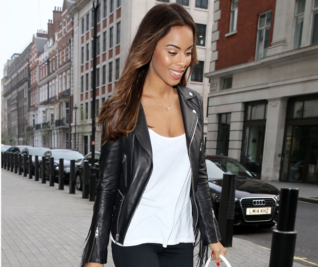 Get Rochelle Humes' tasselled biker jacket on the high street