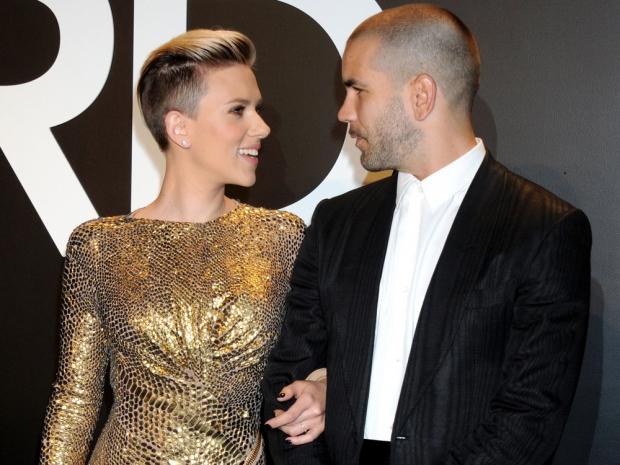 Scarlett Johansson and her husband Romain Dauriac looking loved-up