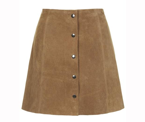 Topshop Suede Button-Through Skirt, £75