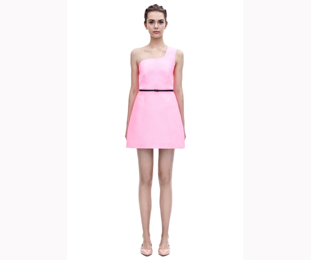 Victoria Beckham's pink tulip skirt bubble-jacquard dress