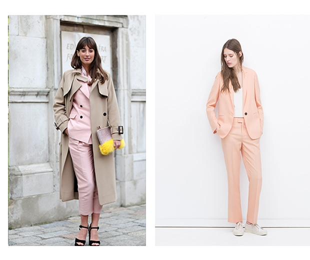 Choose a two piece pink suit for plenty of wardrobe mileage