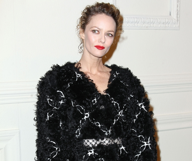 vanessa paradis in a furry black chanel dress at salzburg show