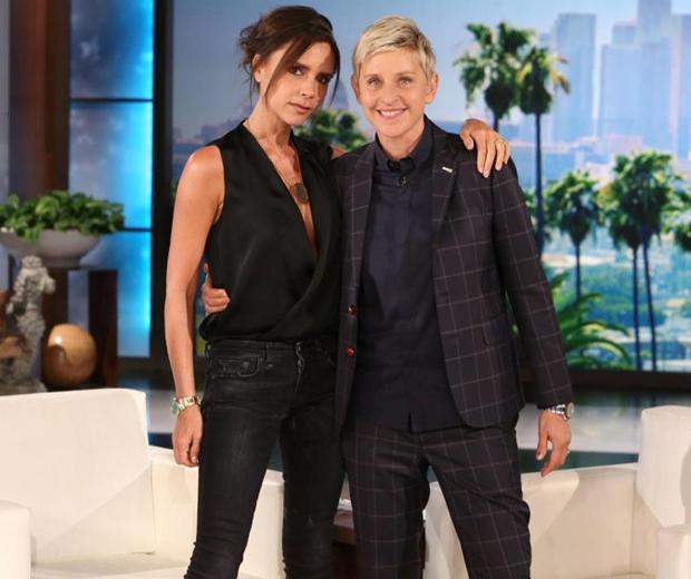 Victoria Beckham and Ellen DeGeneres cosy up on the US talk show