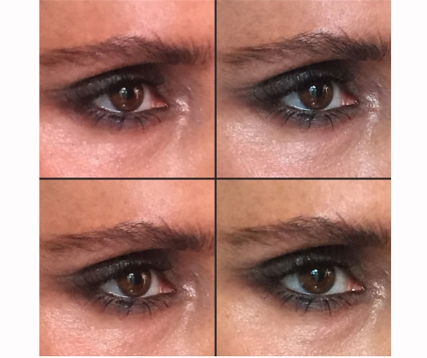 Victoria Beckham shows a close-up of her smokey eye for the Burberry SS15 show