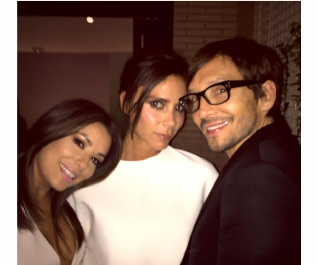 Victoria Beckham with BFFs Eva Longoria and hairdresser Ken Paves