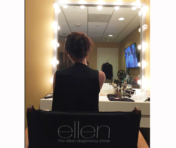 victoria beckham in dressing room chair before The Ellen Show
