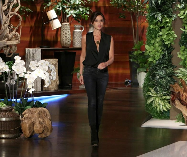 Victoria Beckham picked skinny jeans and a black wrap top for the ellen show