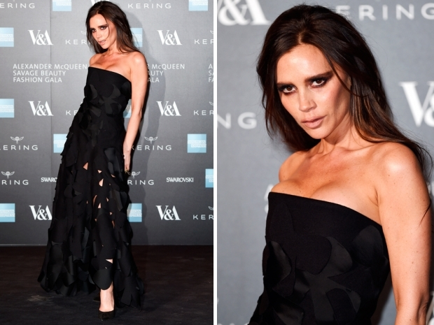victoria beckham in black mcqueen gown
