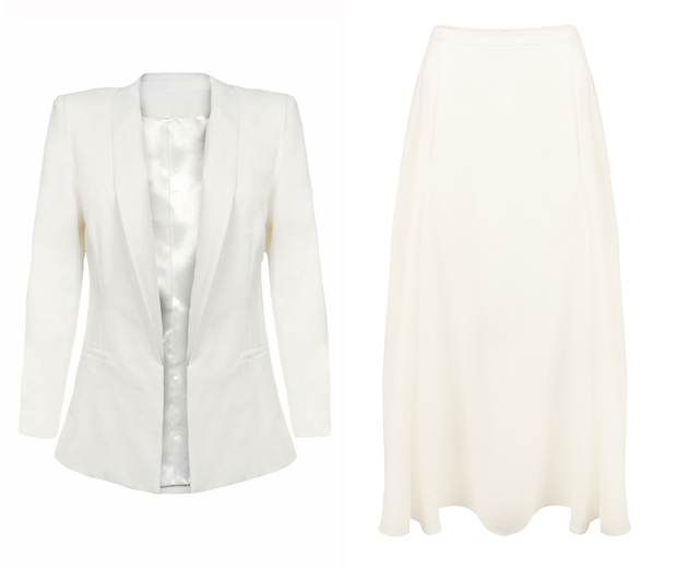 white blazer and midi skirt from in the style