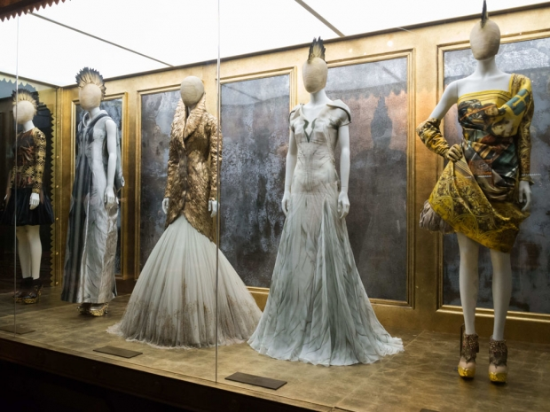 Dresses on show at the Savage Beauty exhibition at the Victoria & Albert museum