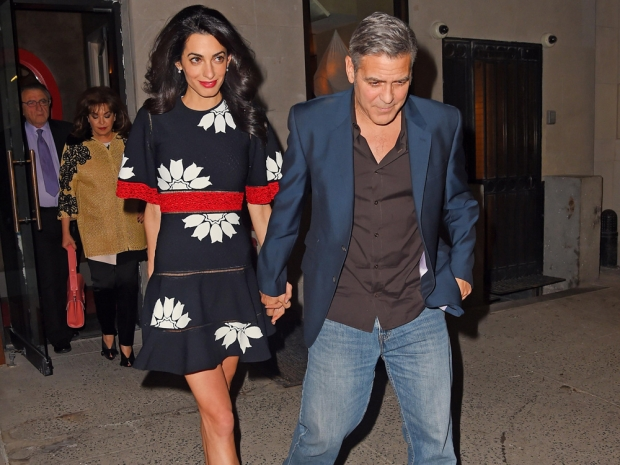 Amal Clooney and George Clooney going out for dinner in New York