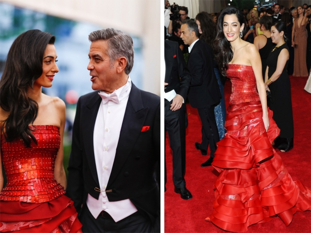 Amal Clooney with George Clooney at the 2015 Met Gala