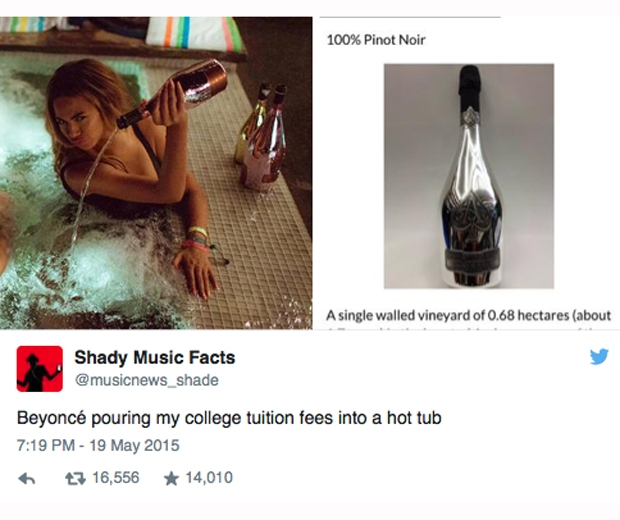 Beyonce is seen pouring a $20,000 bottle of Ace of Spades into a hot tub in her