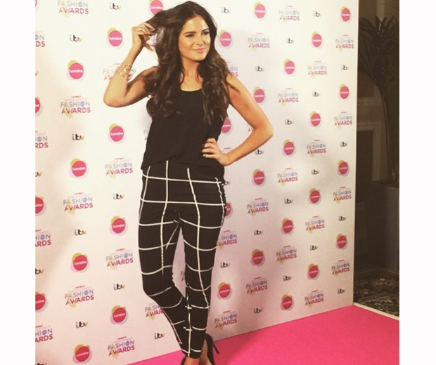 made in chelsea binky Felstead in checked Rare London trousers