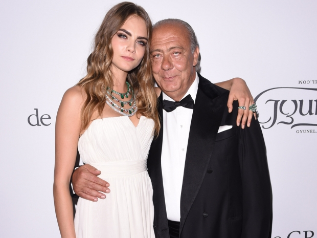 Cara Delevingne poses with Fawaz Gruosi in Cannes