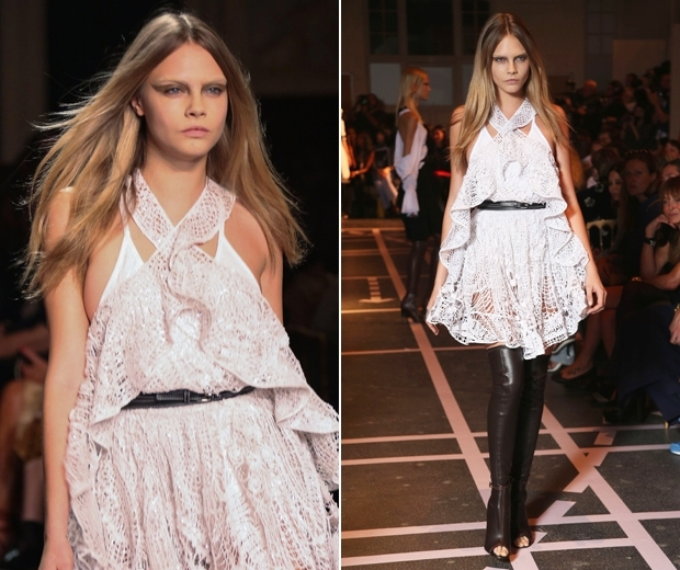 Cara Delevingne modelling the Givenchy SS15 collection bleached eyebrows