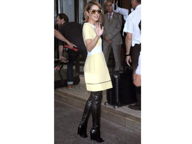 Cheryl Fernandez-Versini wears a Fendi dress at Nice Airport