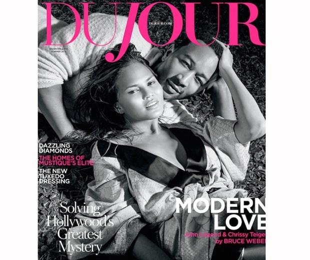 Chrissy Teigen and husband John Legend on the cover of Du Jour magazine