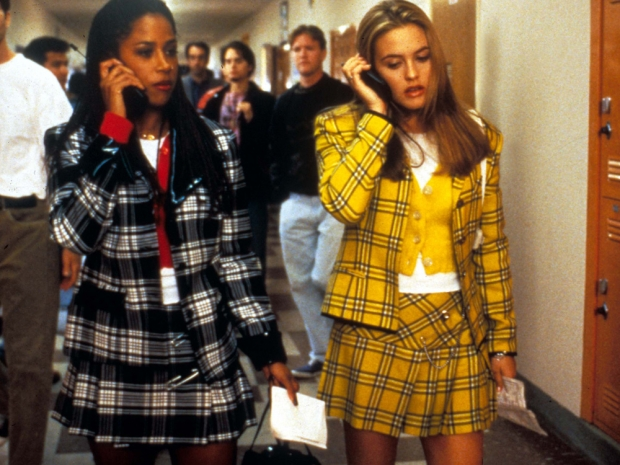 Alicia Silverstone and Stacey Dash wearing tartan skirts in Clueless