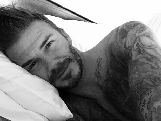 David Beckham poses in bed for Instagram photo