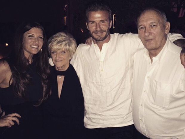 David Beckham with his family in Instagram photo
