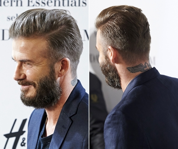 david beckham at H&M collection launch with beard