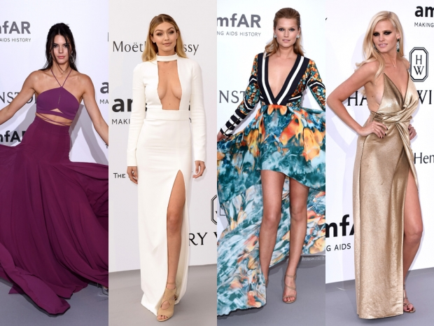 The supermodels at the amfAR Gala in Cannes in figure-hugging long dresses