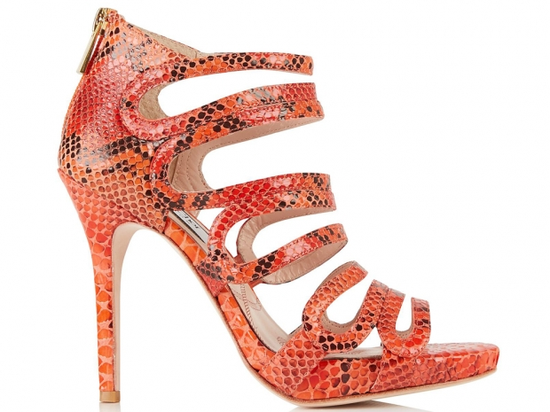 Lucy Choi Romeo Snake Print Open Toe Shoes