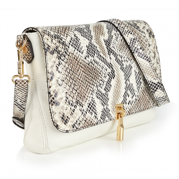 Elizabeth And James Cynnie Snake Print Cross Body Bag â Ivory