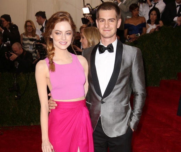 Emma Stone in pink dress and Andrew Garfield