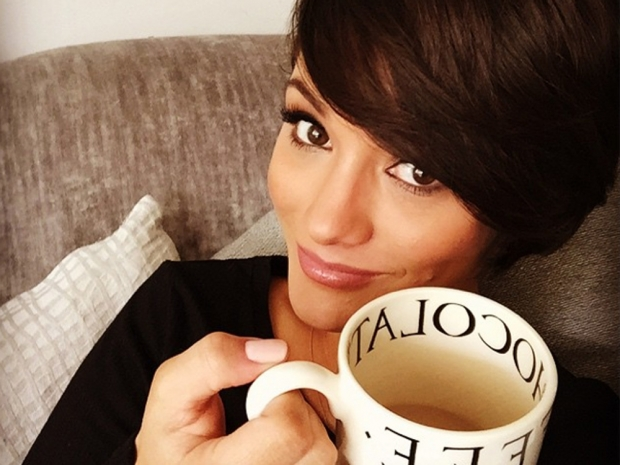 Frankie Bridge poses with a cup of tea in Instagram photo