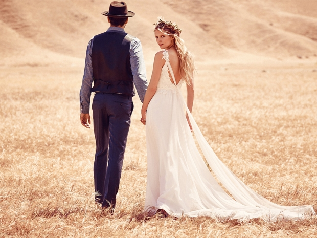 Two models wearing the debut bridal collection from Free People