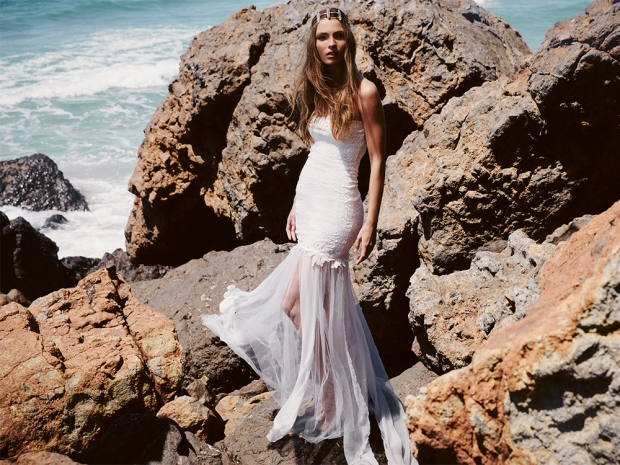 A white strapless boho wedding dress from the new Free People Bridal Collection