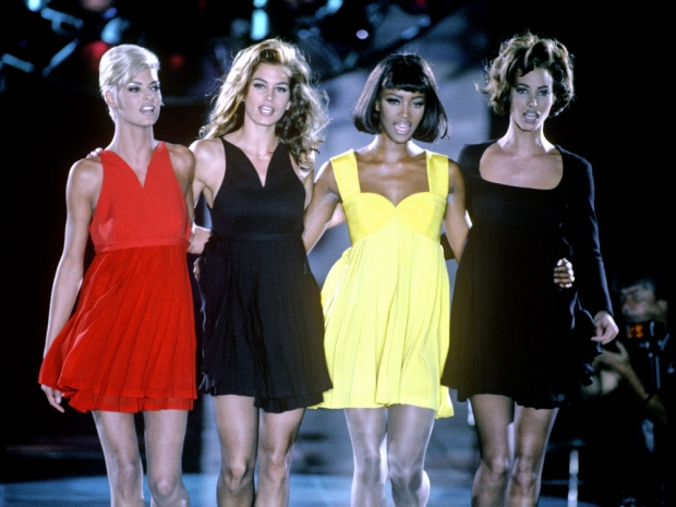 Naomi Campbell with Linda Evangelista, Christy Turlington and Cindy Crawford