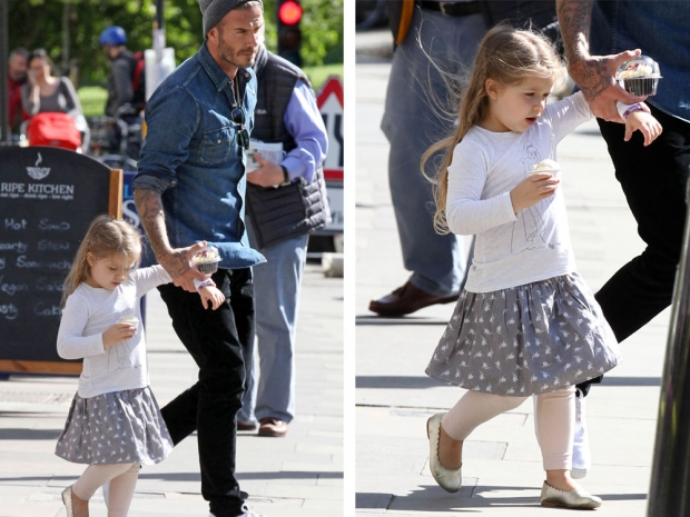 Harper spends quality time with her daddy in London...