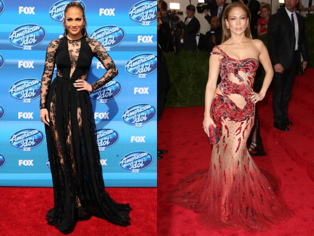 Jennifer Lopez in sheer gowns