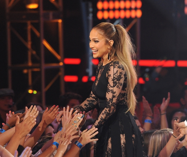 Jennifer Lopez greeting the crowd at the Dolby Theatre in LA