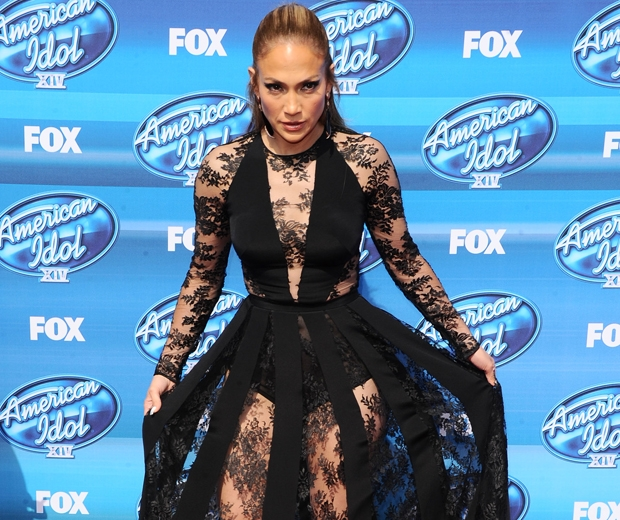 jennifer lopez in black lace Zuhair Murad dress at americal idol finale