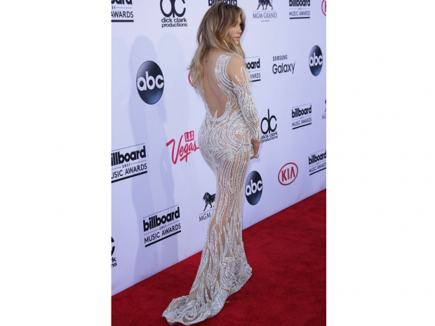 Jennifer Lopez in a sheer gown at the Billboard Music Awards