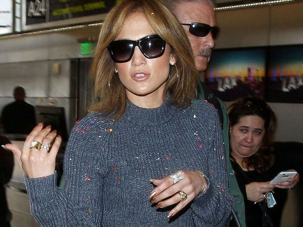 Jennifer Lopez at LAX airport after being covered in confetti