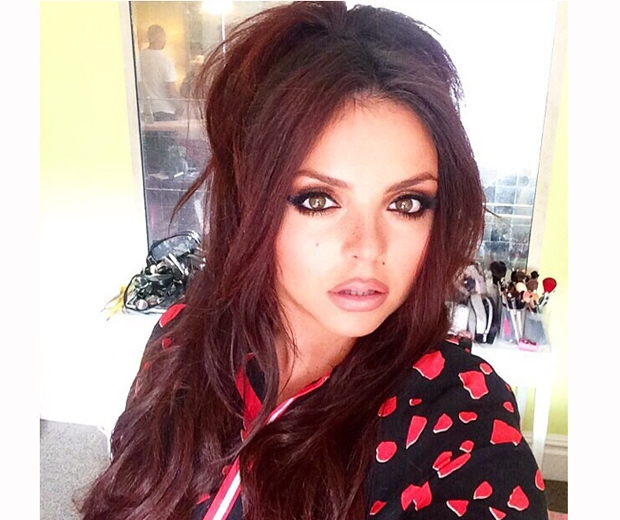 little mix's jesy nelson in red check shirt and beehive