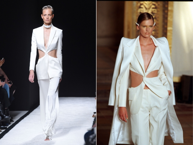 (L) Balmain SS15 and (R) the very similar look from Givenchy's SS97 Couture show